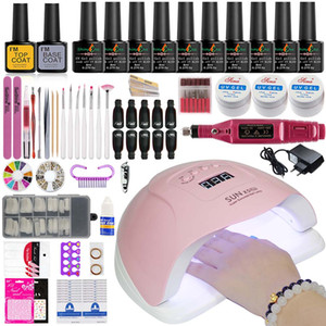 Manicure Set Nail Kit Electric Manicure Handle Acrylic Nail Set 36w 54 72w Led Lamp for Nails Builder Gel 10 Polish Kit on Sale