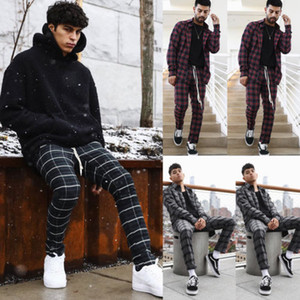 Wholesale Cool Mens Plaid Elastic Waist Sport Pencil Pants Gray Green Red Plaid Trousers Tracksuit Fitness Workout Joggers Gym Sweatpants