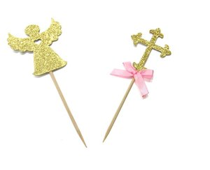50PCS Cake Decoration Glitter Gold Paper Cross Angel Cupcake Toppers