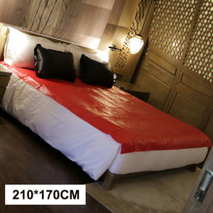 Vinyl Bed Sheets Queen Size King Full Bondage Useful Fantasy Outdoor Bedding Sheet Oil-Proof Waterproof Black Red