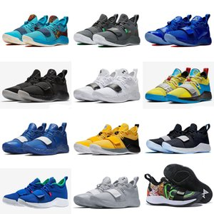 Wholesale paul george shoes resale online - PlayStation x PG Wolf Grey Optic Yellow White Paul George Champion Men Running Shoes for Good quality Sports Sneakers Size