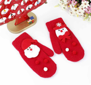 Children Merry Christmas Gloves Rabbit Fur Santa Claus Snowman Mittens Gilrs Winter Soft Warm Gloves For Students Cycling Outdoors