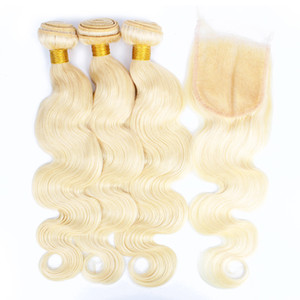 decolorante de cabello al por mayor-BISSHAIR Paquetes rubios con cierre Blonde Blonde Human Hair Weave Bundles Brasil Body Wave Virgin Remy Pelo Extensiones