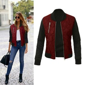 Wholesale Winter Parkas Wine Red Bomber Jacket Women Coat Cool Basic Down Jacket Padded Zipper Chaquetas Biker OutwearMX190930
