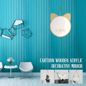 Wholesale Wooden Acrylic Hanging Mirrior Mirror Surface Wall Stickers Office Nordic Fashion Creative Picture Frame Kids Room Bedroom