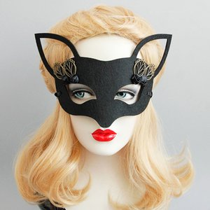 Wholesale Black Fox Half face Masks Halloween Masquerade Ladies Rosebud Fox Masks Wedding Dance Party Girls Costume Accessories