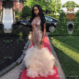 Rose Gold Long Prom Dresses 2019 Gorgeous Sheer Neck Lace Ruffles African Tulle Floor Length Mermaid Evening Dress