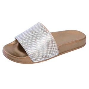 Wholesale SAGACE Shoes Woman Womens Flat Slides Sandals Diamante Sparkly Sliders Colorful Diamond Slippers Women Summer