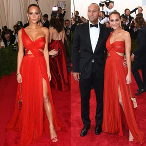 2020 Sexy Celebrity Dresses Cheap A-Line One Shoulder Side Split Chiffon See Through Sheer Red Carpet Long Party Prom Dresses Evening Gowns on Sale