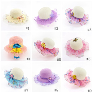 Wholesale kids braid resale online - Kids Straw Hat Baby Lace Brim Snaback Hats Girls Beach Pools Visor Cap Princess Beach Caps Summer Sun Caps GGA2078