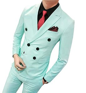 Wholesale Mint Green With Black Button Groom Tuxedo Custom Made Wedding Best Man Groomsman Suits Formal Party Prom Dress pieces
