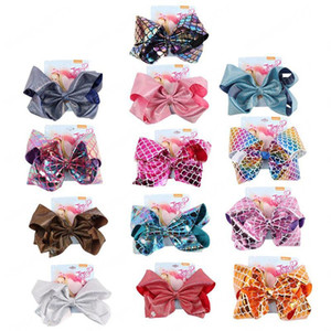 Wholesale fishing bows resale online - 8 inch Jo Girl Hair Clip Gradual Change Barrettes Mermaid Fish Scales Leather Printed Large Hair Bows Clip Hair Accessories Gifts