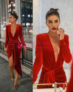 Wholesale 2020 New Red Velvet Sheath Celebrity Dresses With Front Split Deep V Neck Short Long Sleeve Red Carpet Prom Party Dresses Custom Made