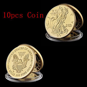 10pcs 100 Mills 999 Fine Memorial US Eagle 2013 Status Of Liberty Craft In God We Trust Gold Plated Souvenir Coin