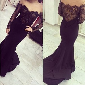 Off-Shoulder black evening dresses long sleeve mermaid lace applique elegant cheap evening gowns 2020 vestido de festa on Sale