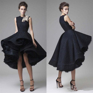 Wholesale black flower lace dresses for sale - Group buy NEW Arabic High Low Black Evening Dresses Jewel Handmade Flowers Ruffles Lace And Tulle Prom Dress Christmas Formal Cocktail Party Gowns