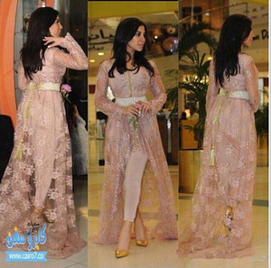 Kim Kardashian Fairy Tale Style Celebrity Gowns Lace Evening Dresses With Long Sleeves Appliqued Hi-lo Split Party Dres (Just Out Lace Coat)