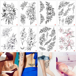 Fashion Black Small Sketch Flower Tattoo Temporary Peony Floral Body Art for Women Waist Chest Leg Arm Jewelry Tattoo Sticker Transfer Paper