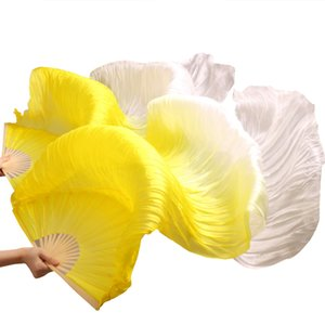 Wholesale Hits Hot Selling Handmade Women Dance Fans High Quality Silk Belly Dance Fans Silk Veils Pair Yellow White