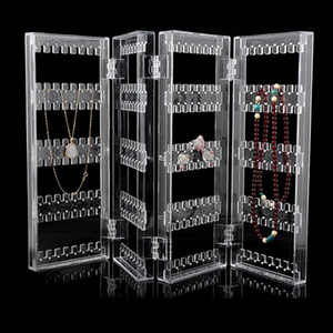 Behogar 4-Panel Foldable Transparent Acrylic Jewellery Display Stand Rack Holder Organizer for Earrings Studs Necklace Bracelets