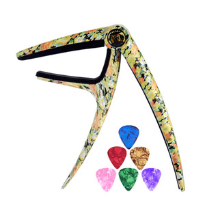 Wholesale guitar flowers resale online - Personalized Trigger Style Capos Flower Grain Zinc Alloy Spring Capo With Guitar picks