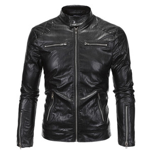 MoneRffi Men Leather PU Jackets Fashion Motorcycle Black Windbreaker Jackets Hip Hop Streetwear Zipper Overcoat Windbreakers