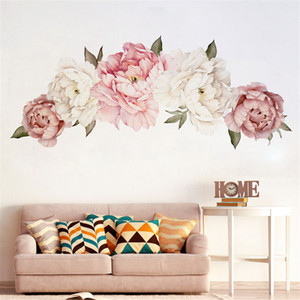 Wholesale Beautiful Peony Flowers Wall Sticker Vinyl Self adhesive Flora Wall Art Watercolor for Living Room Bedroom Home Decor