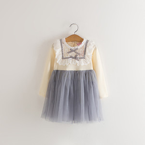 Wholesale Kids Girls Dress Tulle Lace Bow Party Dresses Baby Girl TuTu Princess Dress Babies Korean Style Dress Kids clothing