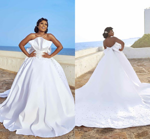 Wholesale big wedding dresses for sale - Group buy Sexy African White Beaded Ball Gown Wedding Dress With Big Sash Vintage Black Girl Strapless Backless Plus Size Bridal Gown Custom Made