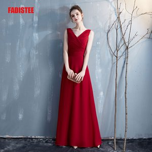 Wholesale FADISTEE new arrival chiffon A-line Evening Dress Burgundy Fashion Evening Gowns Real Photos rose robe de soiree prom party Pleats bow