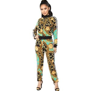 Wholesale Women Sports Tracksuit Gym Outfit printed casual sports suit Retro Sportwear Long Sleeve Zipper Coat Leggings Sets
