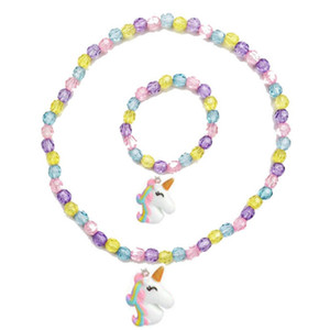 Wholesale Unicorn Necklace Bracelet Set Thick Beads Baby Cute Unicorn Pendant Necklace Girl Chain Jewelry Gift