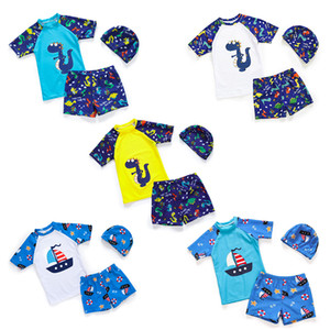 Wholesale Children boys dinosaur print Swimwear summer sunscreen Bathing Suit baby Bikini Kids tops shorts with hat sets Swimsuit C6651