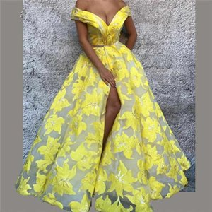 Wholesale Sexy Yellow Off Shoulder Evening Dress Floral Pattern Split Ball Gowns Floor Length Luxury Design Prom Dresses