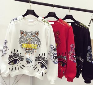 Wholesale KANGZ Womens Tiger Embroidery Designer Hoodies Clothing Autumn Spring O neck Fashion PARIS EYES Design Sweatshirts Fashion Tops