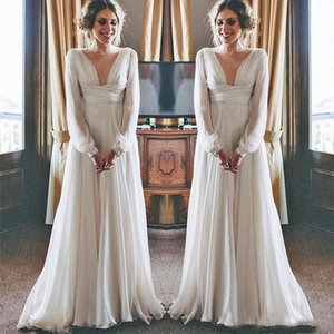Modest Boho Beach Wedding Dresses 2019 Long Sleeves V Neck Plus Size Chiffon Cheap Summer Maternity Country Greek Style Bridal Gowns