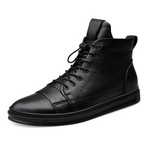 Wholesale New Big Size Men Shoes High Quality Genuine Leather Men Ankle Boots Fashion Black Shoes Winter Boots Warm