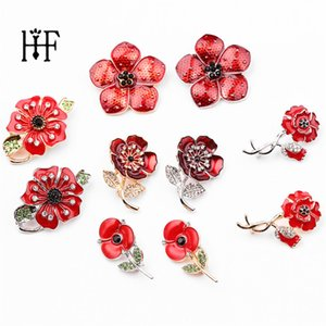 Wholesale Red Enamel Poppy Brooches Flower Pin Fashion Jewelry Brooches Scarf Pins Accessories Bouquet Wedding Jewelry Gifts