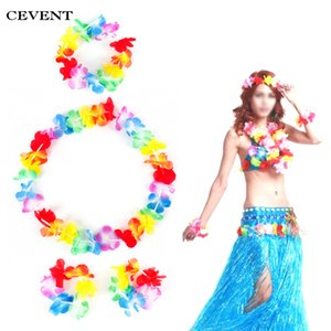 Wholesale Cevent set Hawaiian Flower leis Garland Jungle Party Decor Hand Necklace Wreath Hawaiian Party Decorations Artificial Flower