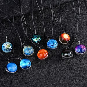 Wholesale Luminous necklace Starry sky Necklace solar system universe Necklace Glass two sided ball pendant Time gem for Christmas Gift