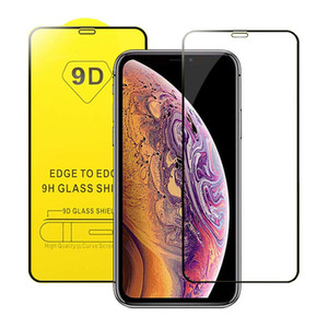 9D Full Cover Tempered Glass Full Glue 9H Screen Protector for iPhone 11 Pro Max XS XR X 8 7 Samsung S10 E A10 A50 A70 A90 M20 Huawei P30