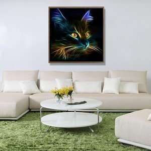 Personality Dark Night Cat 5D Diamond Painting DIY Diamonds Cross Stitch Paintings Decorative Art Picture For Home Decorations 8 5yb E1 on Sale