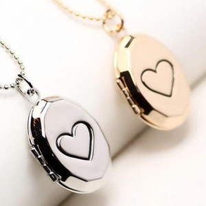 Wholesale 2018 New Brand Window Design Lovers Photo Frame Open Heart Locket Pendant Necklace For Birthday Valentines Gift