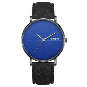 Wholesale 1Simple Men No Number Big Round Dial Faux Leather Band Quartz Wrist Watch