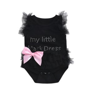Wholesale Newborn Baby Girls Bodysuits Fashion Embroidered Lace My Little Black White Pink Dress Letters Infant Baby Bodysuit Rompers