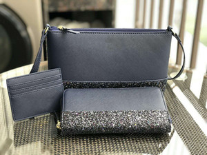 Wholesale brand designer women glitter mini crossbody+wallet+card holder sets cross body shoulder bags purses