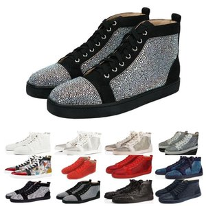 Cheaper Designer Red Bottoms shoes Studded Spikes Flat sneakers Men Women glitter Party Lovers Genuine Leather casual rivet Sneaker on Sale