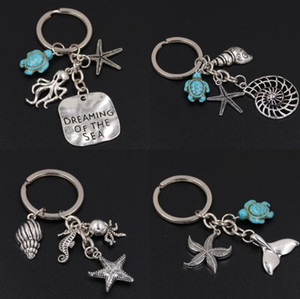 Conch Octopus Starfish Turquoise Sea Turtle Keychain Summer Beach Small Animals Key Ring Vintage Silver Key Chain Jewelry Gift Souvenir