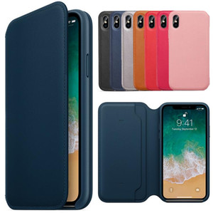 Wholesale Original Leather Folio with LOGO Protective Cover Case Flip Wallet Case For iPhone X XR XS Max With Card Slot Pocket