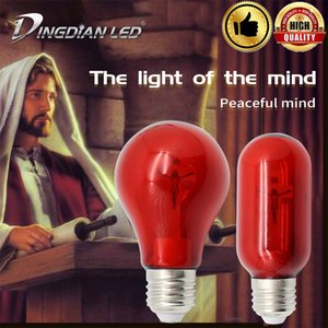 Wholesale LED E27 Cross Jesus Church Bulb V W Red Flame Peaceful Mind Light cathedral Bar Pray Decorative lamp